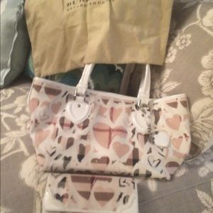 Burberry authentic hearts handbag matching wallet.